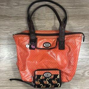 Fossil orange large shoulder bag purse large